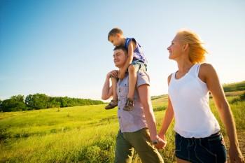 happy family having fun outdoors